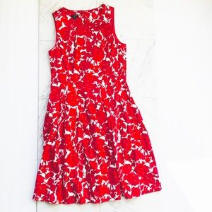 Talbots NWT Red White Floral Dress Pockets A Line